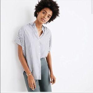 Madewell Stripe Central Shirt in dark grey